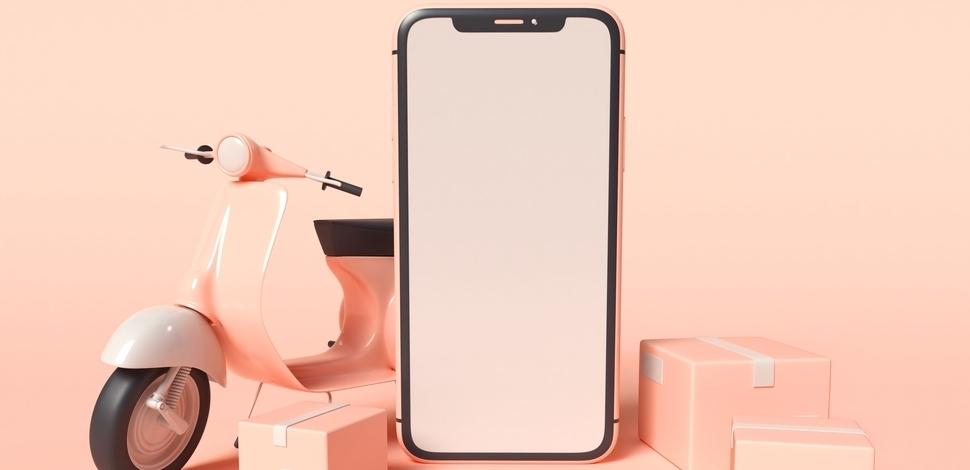 widok smartfona i makiety skutera i toreb zakupowych na różowym tle