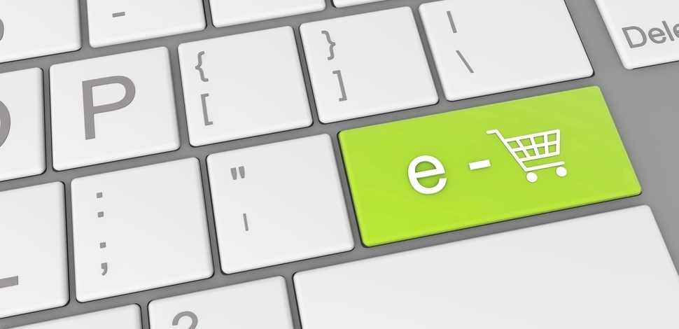 specjalny zielony przycisk na klawiaturze z koszykiem zakupowym