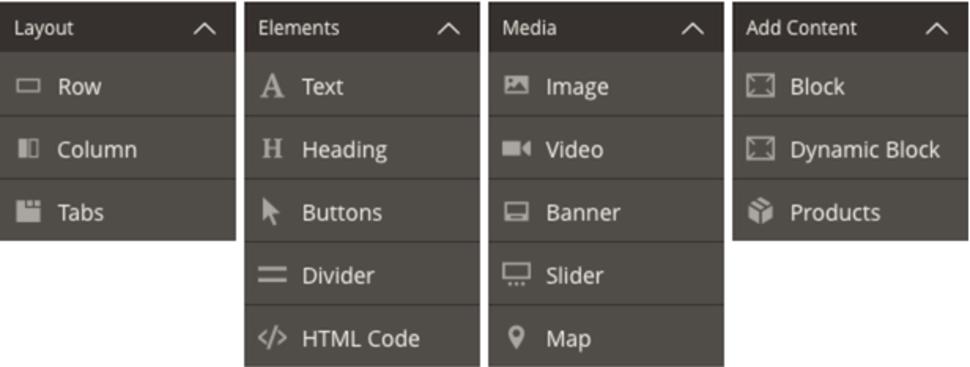 widok menu page buildera w magento